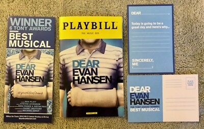 Dear Evan Hansen Xmas package Ben playbill DEH post card and DEH Flyer