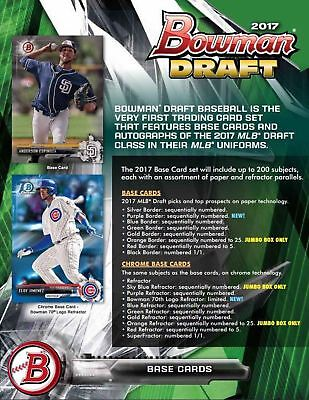 2017 Bowman Draft Baseball Hobby Jumbo HTA Box - FACTORY SEALED READY TO SHIP
