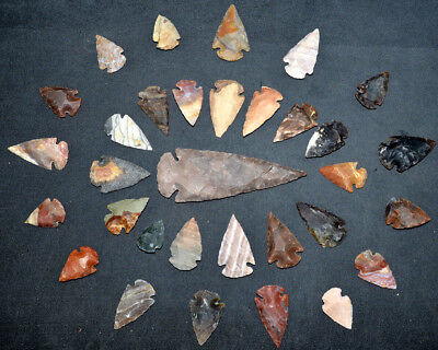 32 pc lot Flint Arrowhead OH Collection Project Spear Points Knife Blade