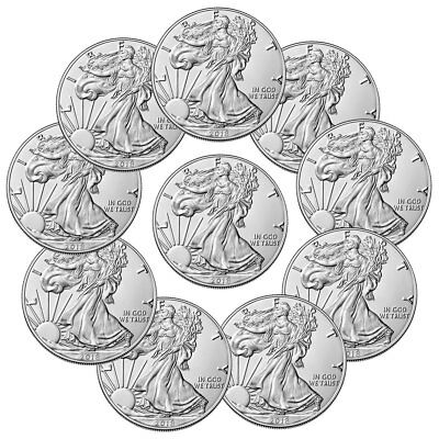 Lot of 10 Coins - 2018 American Silver Eagle 1 GEM BU Coin PRESALE SKU51558