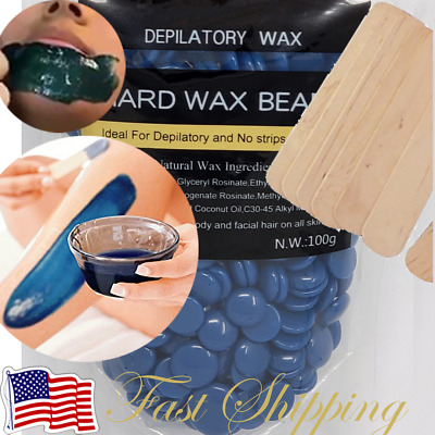 Hard Wax Beads Beans Blue Waxing Hair Removal Hot Film No Strip US SELLER