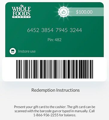 30 - 200 Whole Foods Discount Paper Gift Card - Mail Delivery