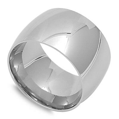 Mens Womens Wide Ring Unique Stainless Steel Wedding Band New 15mm Sizes 4-18