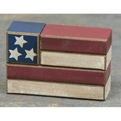 Patriotic Primitive Rustic Style USA American Flag Wood Block - Fourth of July