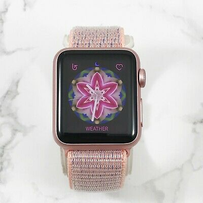 Apple Watch Gen 1 38mm Rose Gold Aluminium Case Series 7000 Pink Sand Nylon Loop