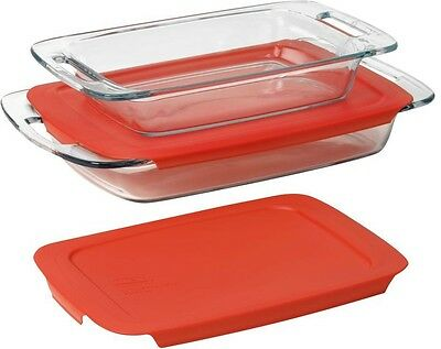 Glass Casserole Dish Set Pyrex Baking Pans Lids Oven Microwave Dishwasher Safe