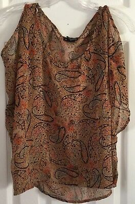 Wet Seal Womens Blouse Size Small Cold Shoulder Sheer Hi-Lo Boho Top