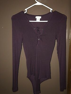 Wet Seal Purple Lace-Up Bodysuit Small