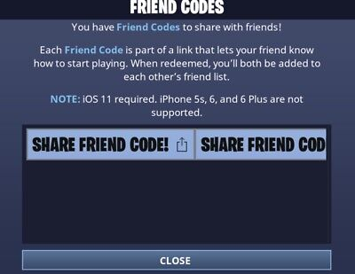 Fortnite Mobile Code Battle Royale iOS Game Friend Code