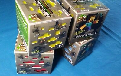 Lot of 4 Minecraft Craftables  Mini Action Figure Series 1 Toy Set Blind Boxes