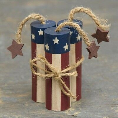 Patriotic Primitive Rustic Style American Flag Wood Firecrackers Fourth of July