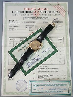 RARE ROLEX 1961 Oyster Perpetual Date Mens 14k GOLD Ref- 1500 w BIG PAPERS NICE