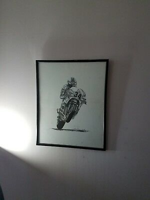 motorcycle racing framed printSigned by artist