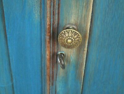 Drysink Commode 1800s Cupboard with Lid Old Style Blue Dovetailed Square Nails
