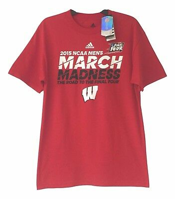 Adidas Mens Size Medium Wisconsin Badgers 2015 Ncaa Final Four March Madness Tee