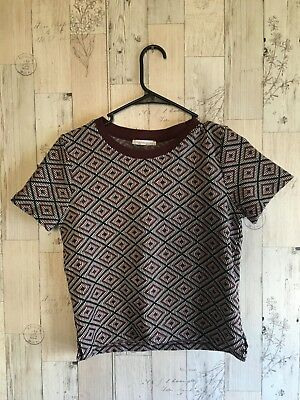 Zara Geometric Print Knit Top Size Medium