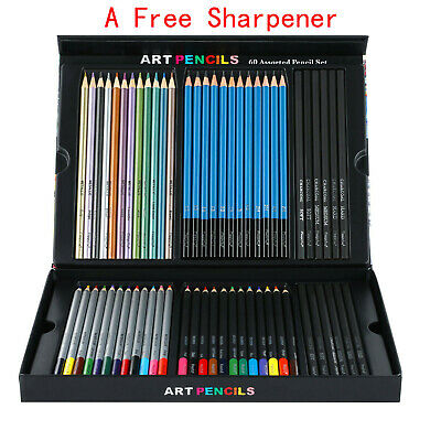 60pc Art Supplies Lot Colored Pencils Professional Drawing Set Sketching Kit