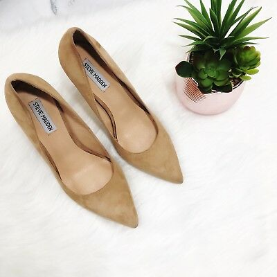 STEVE MADDEN Caliista Heels Sz 9-5 Tan Camel Suede Pointed Toe Shoes Pumps