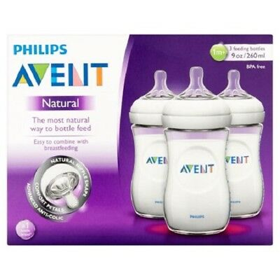 Philips AVENT BPA Free Natural Feeding 9 oz Bottle 1M- 3 Count