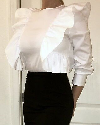 New Zara White Ruffle Blouse Top 34 Sleeve - XSSmall