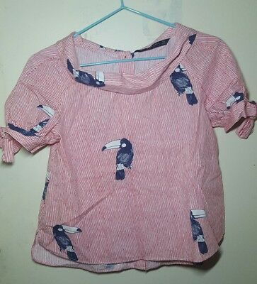 Zara collection Toucan Bird Print Stripe Frill Top Size XS