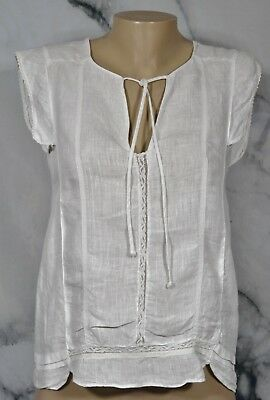 ZARA BASIC White Linen Top Small Cap Sleeves Ties at Neckline Unlined Lace Trim