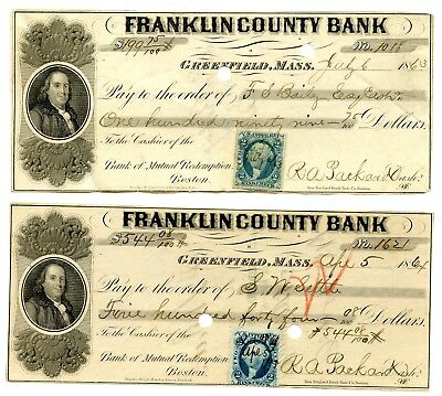 Nice Pair Franklin County Bank Mass- Checks with R5 and R5a One of Each