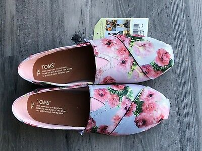 Authentic Toms Womens Shoes Classic Pink Graphic Floral  NWT Size 9 10010212