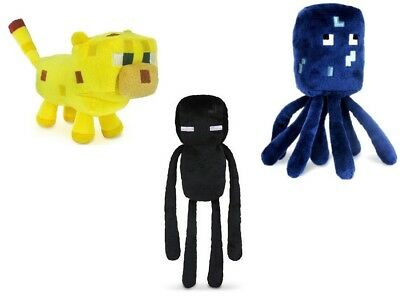 NEW Lot of 3 Minecraft Squid Ocelot Enderman Plush Toys - USA SELLER