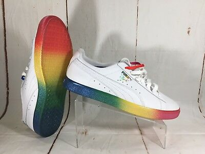 PUMA Clyde Pride Sneakers Mens White Shoes Rainbow LGBT 365742 01 Size 14