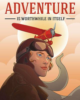 Amelia Earhart Illustrated Poster FREE SHIPPING