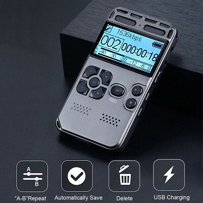 64GB Rechargeable LCD Digital Audio Sound Voice Recorder Dictaphone MP3 Player