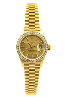 Ladies Mint 18K Rolex Datejust With Diamond Bezel Ref 69178 C-1995 12 w Box