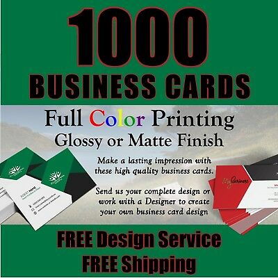 1000 FULL COLOR BUSINESS CARDS  FREE Design  FREE Shipping  Great Quality
