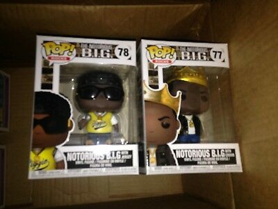 Funko Pop The Notorious B-I-G- with Crown Jersey Set Biggie Smalls Near Mint