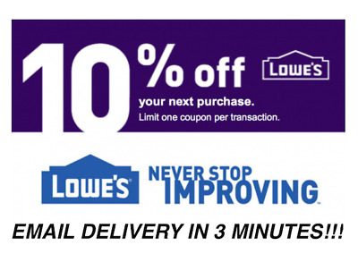 THREE 3x Lowes 10 OFF Coupons - Lowes In storeonline Fast Delivery