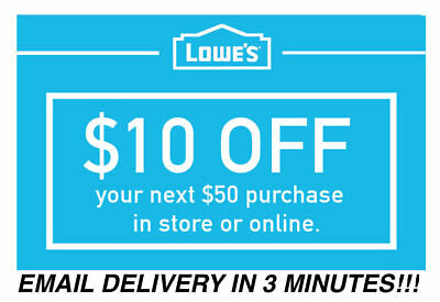 THREE 3x Lowes 10 OFF 50 Coupons Discount - In storeonline - Fast Shipment