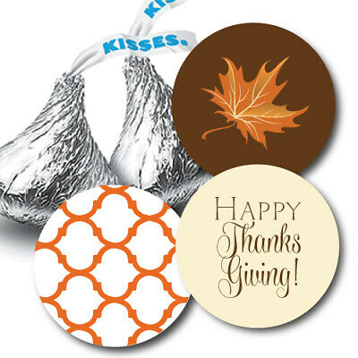 108 Happy Thanksgiving Hershey Kiss Stickers - Fall Leaf and Quatrefoil