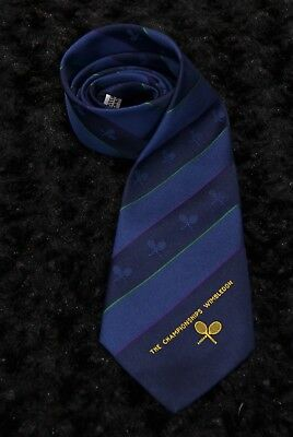 The Championships Wimbledon Logo Neck Tie Tennis Navy Blue Lawn Tennis Museum