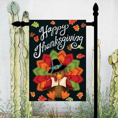 Happy Thanksgiving Turkey Welcome Autumn Harvest Garden Flag Banner Home Decor