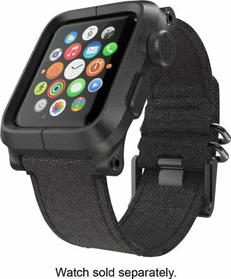 LUNATIK - EPIK Case and Canvas Band for Apple Watch 42mm Black EPIK-006 - VG