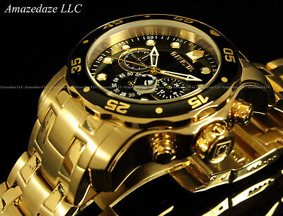 NEW Invicta Mens Pro Diver Scuba Chronograph Stainless Steel Black Dial Watch