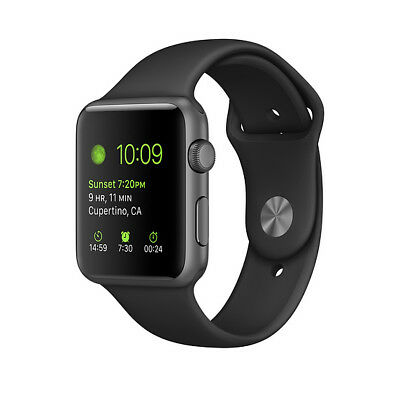 Apple Watch Sport 42mm Space Gray Aluminum Case Black Sport Band A1554