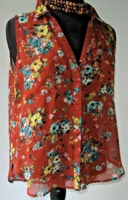 Wet Seal Blouse Top Shirt Sleeveless button Floral Brown Size Large