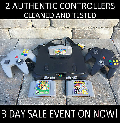 N64 Nintendo 64 Console W 2 ORIGINAL CONTROLLERS - CHOOSE FROM POPULAR GAMES