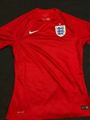 Nike England World Cup WC 2014 Away Jersey Soccer Match Red Youth Large