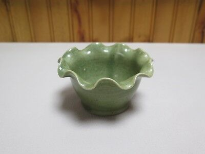 Pigeon Forge Pottery Small Hand Turned Olive Green Bowl w Ruffled Rim H- Sims