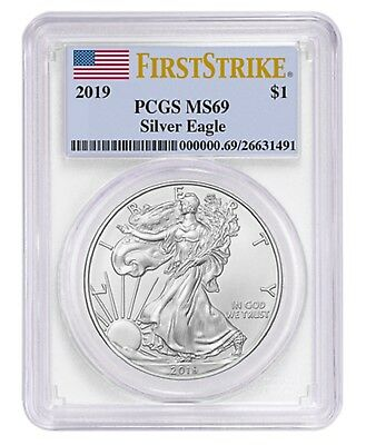 2019 1oz Silver Eagle PCGS MS69 First Strike Label
