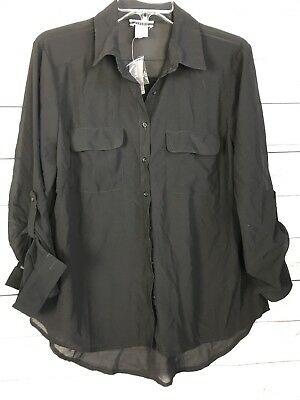 NEW Contempo Casuals™ Chiffon 2 Pocket LS Blouse Sheer Black Wet Seal Large