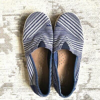 TOMS shoes Striped flats blue womens size 6